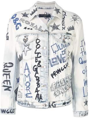 Dolce & Gabbana stitched graffiti denim jacket