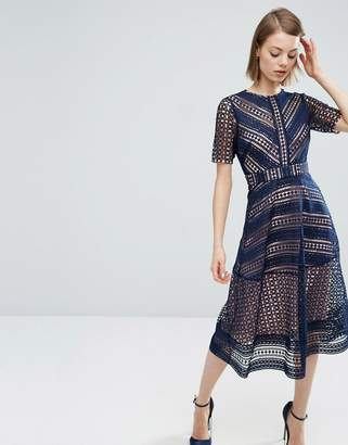 ASOS Premium Occasion Lace Midi Dress $128 thestylecure.com