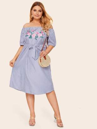Shein Plus Stripe And Floral Print Belted Dress