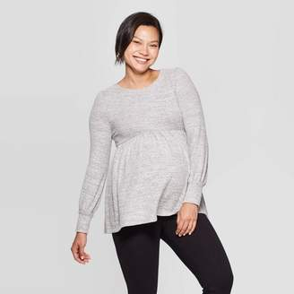 Ingrid & Isabel Isabel Maternity by Maternity Long Sleeve Cozy Babydoll Top - Isabel Maternity by Gray