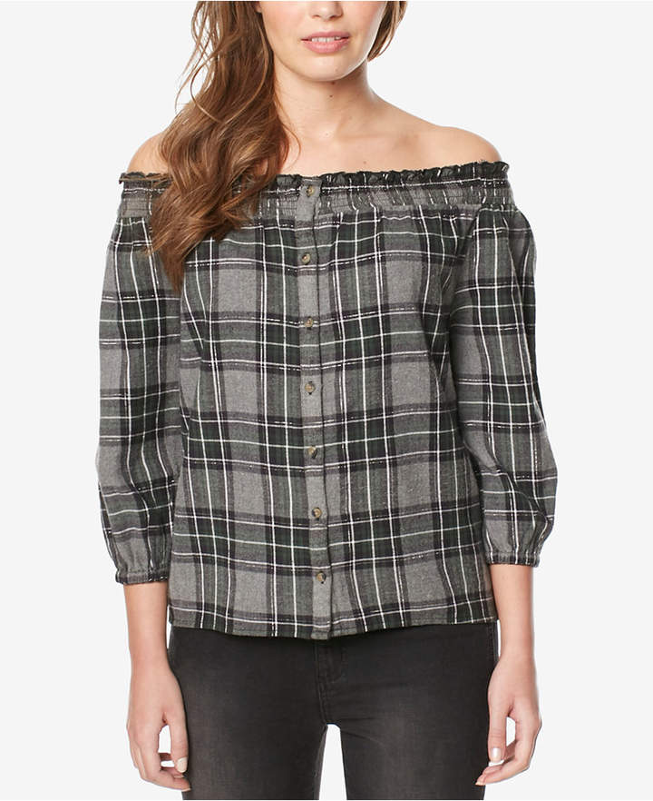Buffalo David Bitton Plaid Off-The-Shoulder Top