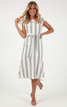 7ca74bc26b7 Showpo Every Time We Dance dress in grey stripe linen look - 6 (XS)