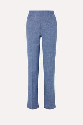 Totême Troia Melange Stretch Cotton And Linen-blend Straight-leg Pants