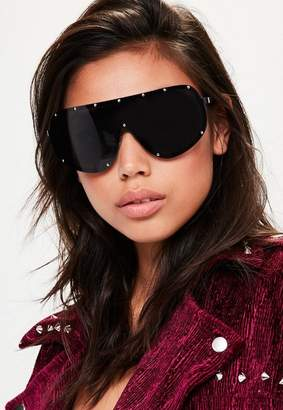 Missguided Black Studded Oversized Sunglasses