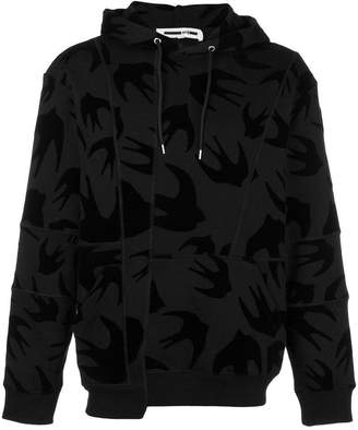 McQ swallow print panelled hoodie