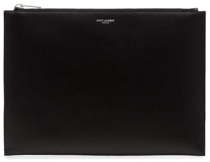 Saint Laurent black bandana lined leather pouch