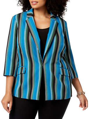 INC International Concepts Plus Striped Three-Quarter Sleeve Blazer