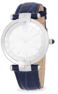 Versace Stainless Steel and Embossed Leather-Strap Watch