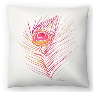 East Urban Home Cat Coquillette Peacock Feather Original Throw Pillow East Urban Home