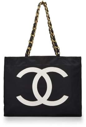 Chanel Black Nylon Flat Chain Handle Tote Medium