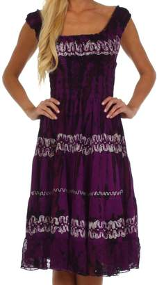 Sakkas 7714 Delilah Gypsy Boho Peasant Batik Dress