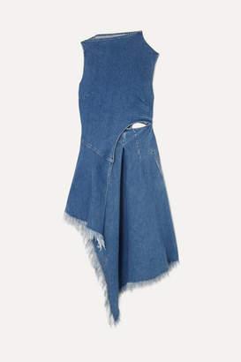 Marques Almeida Marques' Almeida - 7 For All Mankind Asymmetric Frayed Denim Midi Dress - Mid denim