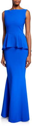 Chiara Boni Rowan Sleeveless Peplum-Waist Mermaid Gown