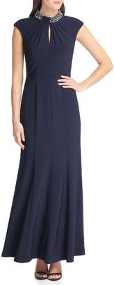 Vince Camuto Jeweled Stand-collar Gown