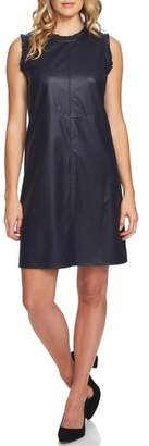 CeCe Ruffle Detail Faux Leather Shift Dress