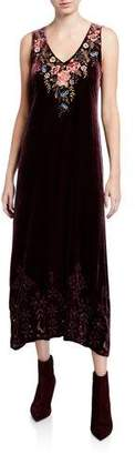 Johnny Was Britton Velvet Maxi Dress w/ Floral Embroidery