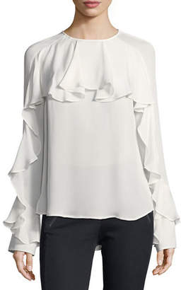 Veronica Beard Mia Long-Sleeve Silk Ruffle Blouse