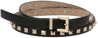 Valentino Belt Rockstud 1.5 Cm Wide Belt With Multi Metal Studs