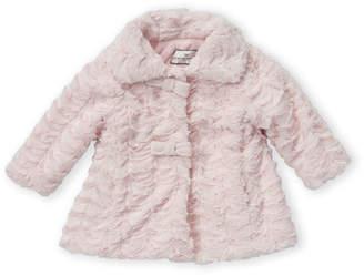 American Widgeon (Newborn/Infant Girls) Bow Front Faux Fur A-Line Coat