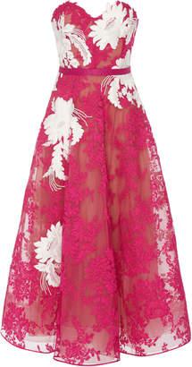 Marchesa Strapless Corded Lace Midi Dress