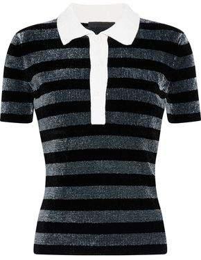 c28e6f6e5fb69 Alexander Wang Metallic Striped Chenille Polo Shirt