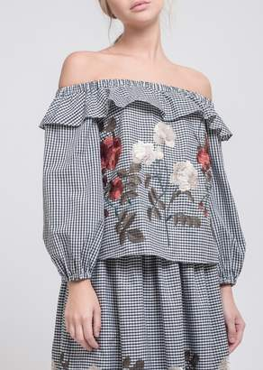 J.o.a. Embroidered Off-the-Shoulder Blouse