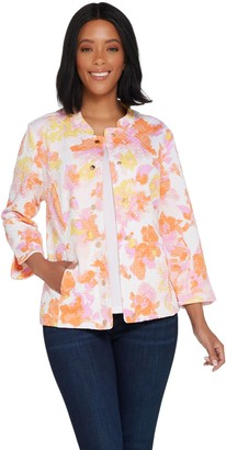 Isaac Mizrahi Live! Watercolor Floral Print Knit Jacket