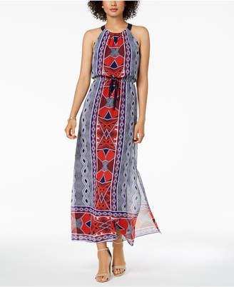 Nine West Printed Drawstring Maxi Dress