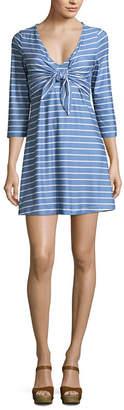 N. Heart Soul 3/4 Sleeve Stripe A-Line Dress-Juniors