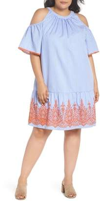 Maggy London Embroidered Stripe Cold Shoulder Shift Dress