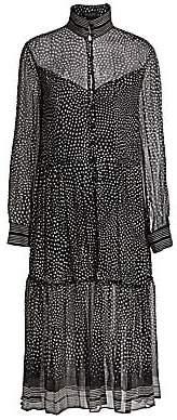 Rag & Bone Women's Libby Polka Dot Sheer Silk Flounce Shirtdress