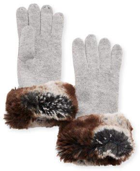 Neiman Marcus Cashmere Faux-Fur Gloves