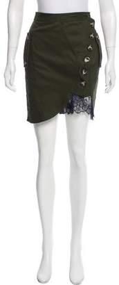 Self-Portrait Lace-Trimmed Mini Skirt