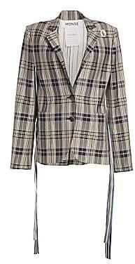 Monse Women's Plaid Grosgrain Stripe Jacket - Size 0