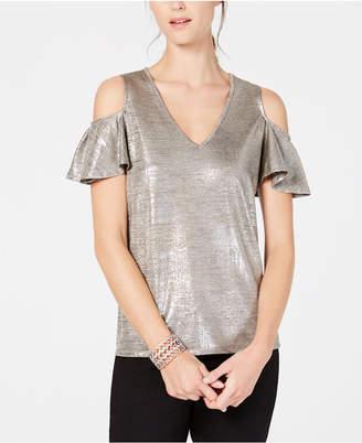 69610e3447cd78 INC International Concepts I.n.c. Metallic Cold-Shoulder Top