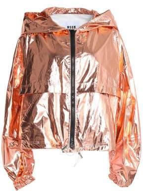 MSGM Coated Cotton-Blend Lamé Hooded Jacket