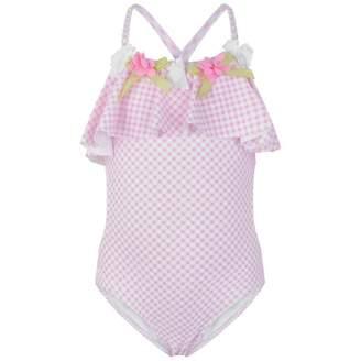 Kate Mack Kate MackGirls Pink Flower Applique Ruffle Swimsuit