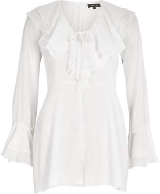 River Island Womens White dobby ruffle front bell sleeve playsuit