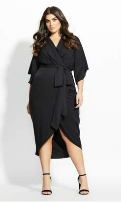 City Chic Citychic Kimono Sleeve Dress - black