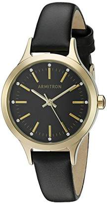 Swarovski Armitron Women's 75/5372BKGPBK Crystal Accented Gold-Tone and Black Leather Strap Watch