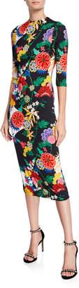 Alice + Olivia Delora Long-Sleeve Floral Fitted Sheath Midi Dress