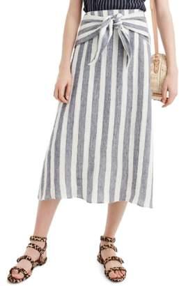 J.Crew J. CREW Point Sur Nautical Stripe Tie-Waist Linen Skirt