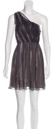 Alice + Olivia One-Shoulder Silk Mini Dress