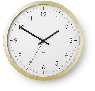 """Umbra Wall Clock - 12"""" Round Metal Frame - Battery Operated - Decorative Wall Clock for Kitchen, Nursery, Office, School, Hospital - with Silent Second-Hand"""