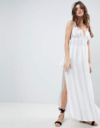 Asos DESIGN Natural Stripe Maxi Beach Dress