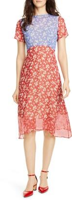 HVN Lindy Floral Silk Chiffon Dress
