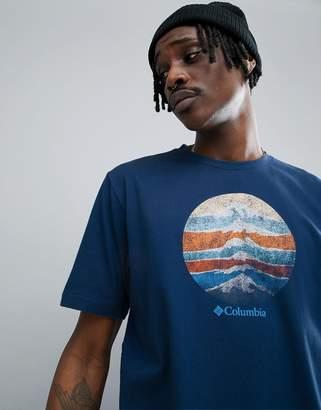 Columbia Mountain Sunset Logo T-Shirt In Navy