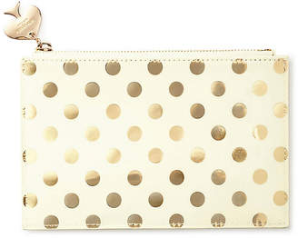 Kate Spade Gold Dots Pencil Polyurethane Pouch - Cream/Gold