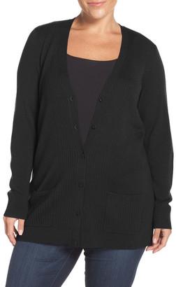 Sejour Ribbed V-Neck Cardigan (Plus Size & Petite Plus) $89 thestylecure.com