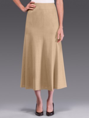 Stretch flannel fluted skirt